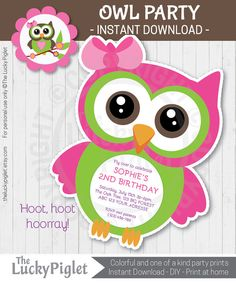Owl invitations for your next Owl Party. Owl Birthday or Owl Baby Shower.