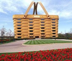 Giant picnic basket in a tulip field in Holland. Nice.