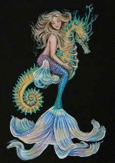 Items similar to inch PRINT Mermaid Riding Seahorse Art Unframed Full Colour Acrylic Painting Black Background on Etsy Mermaid Artwork, Mermaid Drawings, Mermaid Tattoos, Fantasy Mermaids, Unicorns And Mermaids, Mermaids And Mermen, Fantasy Creatures, Mythical Creatures, Sea Creatures