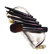 """mark Toolin' Around Mini Brush Set - Our best-selling mini brush kit (go with the pro) gets glammed up for holiday giving and post-holiday taking everywhere. Includes five mini brushes: Eye shadow brush: 3 ½"""" L, Eyeliner brush: 3 ¾: L, Concealer brush: 3 ¾"""" L, Lip color brush: 3 ¾"""" L, Powder brush: 4 ¼"""" L, Case: Metallic faux leather with tassel pull. Case (closed): 5 ¼"""" L x 2 ¼"""" H Regularly $16.00, buy Avon Christmas Stocking Stuffers online at http://eseagren.avonrepresentative.com"""