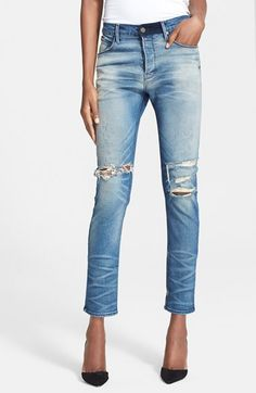 ab245a27d RtA Destroyed Boyfriend Jeans (Exploded Blue) available at  Nordstrom Denim  Trends
