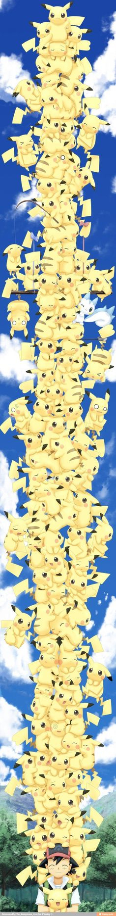 Attack of the Pikachus! The one with the big eyes that's getting a kiss is my favorite. :33 he's so confused.