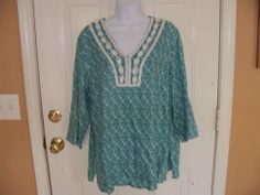 Marisa Christina Teal & White Embroidered LINEN Empire Peasant BOHO Tunic Size1X #MarisaChristina #Tunic #Casual
