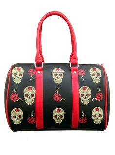 """Day Of The Dead"" Handbag by Jawbreaker (Black) #InkedShop #handbag #skull #style #fashion"