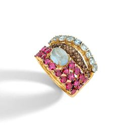 BaoBob Collection ' Ring in 18K yellow gold with round brown diamonds, aquamarine, ruby and pink tourmaline.