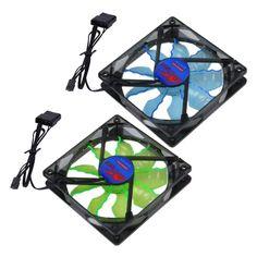Hot New Cool & Quiet 15 Blue/Green LED Desktop Pc Computer Case Cooling Fan Wholesale