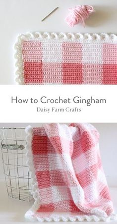 An easy crochet gingham stitch to create the perfect modern crochet gingham baby blanket. The hardest part is shopping for the right colors! Crochet Simple, Modern Crochet, Crochet Home, Crochet Crafts, Crochet Projects, Free Crochet, Crochet Ideas, Crochet Baby Blanket Free Pattern, Baby Afghan Crochet