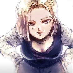 "Android 18 ""So this is what Krillin saw when I kissed him on the cheek.. 💋 #dbz #dragonballz #dragonball…"""
