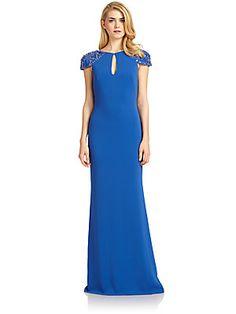 Badgley Mischka Embellished Cap-Sleeve Keyhole Gown