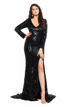 Curve Plus Size Dresses Black Sequin Gown, Black Sequins, Curve Prom Dresses, Formal Dresses, Stylish Gown, Long Sleeve Gown, Dresses To Wear To A Wedding, Sequin Fabric, Plus Size Dresses
