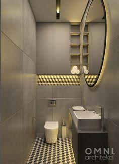 Nowoczesna łazienka z ciemnym akcentem, hiszpańską płytką 3d. #omniarchitekci #dark_toilet #modern #glamour