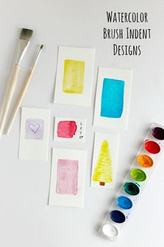 Make watercolor indent designs with the back of your brush! Even kids can get into the fun. Make gift cards, gift tags, or something to frame and display!