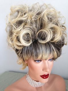 Large Beehive Wig, Dark Rooted Golden Blonde