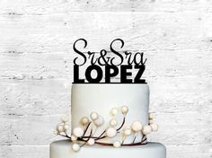 Sr&Sra Wedding Cake topper Monogram cake topper Personalized Cake topper Acrylic Cake Topper