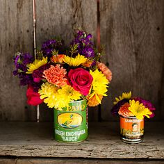 Vintage cans as flower vases