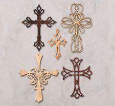 scroll saw crosses | Scroll Saw Wall Art - Ornamental Wall Crosses Pattern Set