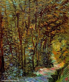 Vincent Van Gogh: Path in the Woods.  Oil on canvas.  Paris: June, 1887.  Amsterdam: Van Gogh Museum.