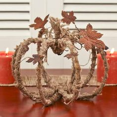 Burlap and Wire Pumpkin Frame with Rusty Tin Leaves