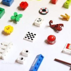 LEGO science scavenger hunt using random small LEGO items