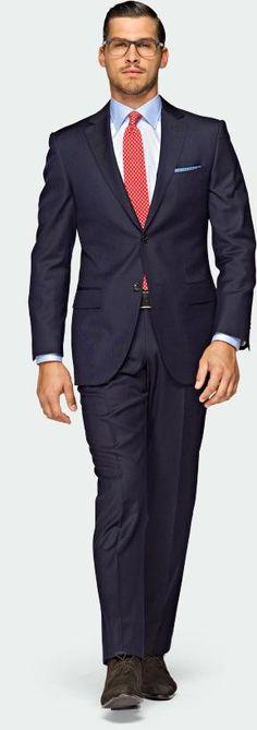 Interview: Classic Navy Blue Suit dark brown shoe