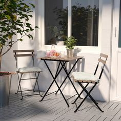 TÄRNÖ chairs, outdoor – black acacia, gray-brown stained light brown stained steel – IKEA – Keep up with the times. Outdoor Table Tops, Outdoor Chairs, Outdoor Decor, Balcony Table And Chairs, Garden Chairs, Patio Tables, Patio Sets, Outdoor Dining Set, Garden Table