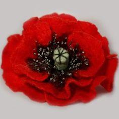 Felted poppy flower brooch    #DIY #tutorial #felted #poppy #flower #wool #brooch #jewelry