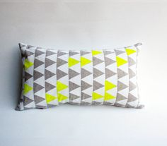 Mountains of Montana - neon yellow and grey triangle pattern organic pillow, hand printed Pillow Forms, Pillow Inserts, Pillow Covers, Montana, Bergen, Eco Friendly House, Triangle Pattern, Yellow Fabric, Neon Yellow