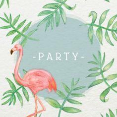 Frisse uitnodigingskaart met aquarel plantenpatroon & flamingo, verkrijgbaar bij #kaartje2go voor €1,89