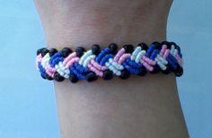 Handmade bracelet with black glass beads!