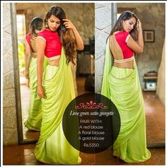 Sipping mojitos in twilight garden parties...this fresh lime green drape conjures up beautiful summertime images. Find it on our READY TO SHOP section here: www.houseofblouse.com #houseofblousedotcom #saree #satin #georgette #limegreen #love #chic #beautiful #blouse #readytoshop