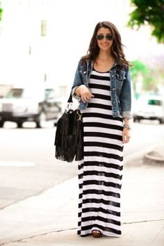 Striped maxi dress, jean jacket, wedges, aviators and fringe bag Spring Summer Fashion, Spring Outfits, Autumn Fashion, Skirt Outfits, Casual Outfits, Cute Outfits, Cute Fashion, Modest Fashion, Fashion Ideas