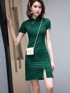 Green Red Printed Linen Qipao / Cheongsam Dress - CozyLadyWear Custom Made Clothing, Cheongsam Dress, Printed Linen, Floral Chiffon, Mandarin Collar, Dress P, Black Print, High Neck Dress, Casual