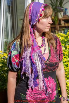 Stunning Cotton and Sari Sequinned Bandana with by RagsForGypsies