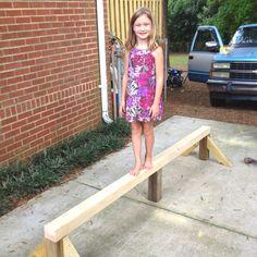Homemade balance beam