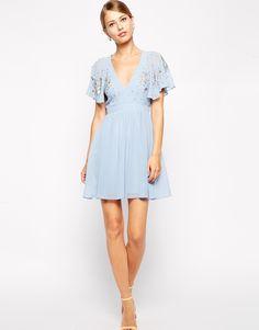 Image 4 ofASOS Embellished Flutter Sleeve Skater Dress
