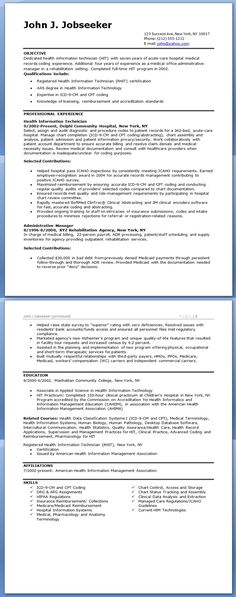 health information technician resume sample - Tech Resume Template