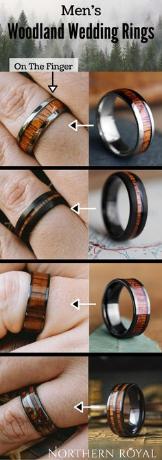 The Outdoorsman - A Collection Of Wooden Wedding Rings Wedding Men, Mens Wooden Wedding Bands, Gold Wedding, Elegant Wedding, Wedding Ideas, Wood Rings, Blue Rings, Anniversary Rings, Unique Rings