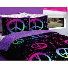 CREATIVE KIDS -Black, Purple & Pink Peace Signs Teen Girls Twin Comforter Set (5 Piece Bed In A Bag)