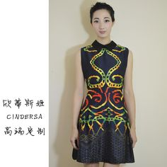 C home high-end custom new spring and summer 13 years Europe high-end printed sleeveless dress fashion women's clothing