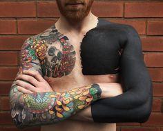 All Black Tattoos, Solid Black Tattoo, Large Tattoos, Trendy Tattoos, Cool Tattoos, Black Work Tattoo, Tattoos Pics, Awesome Tattoos, Tattoo Images