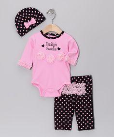 Pink Polka Dot 'Daddy's Sweetie' Rumba Ruffle Pants Set