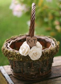 Morgann Hill Designs: Personalized Flower Girl Basket Woodland Rustic Birch Bark Outdoor Fall WInter Roses CHIC