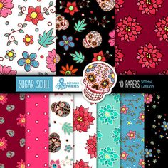 Sugar Scull: 10 Digital Paper Pack Day of the Dead by OctopusArtis