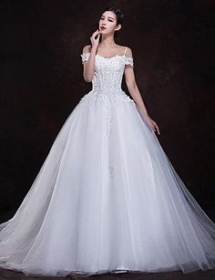 Princess Off-the-shoulder Floor-length Wedding Dress (Chiffon/Lace) - USD $ 155.99