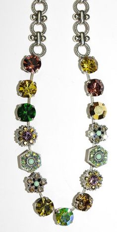 MARIANA NECKLACE GOLDFINGER: green, lavender, gold, yellow stones in s – European Accent