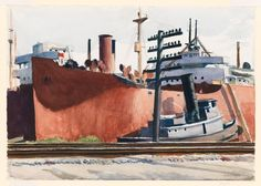 Edward Hopper,   Docked Freighter and Tugboat, ca.1934-38