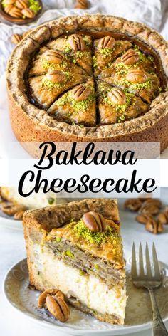 Baklava Cheesecake Baklava Cheesecake Prado darla whitby cheesecake recipes Baklava cheesecake baklava cheesecake cake desserts baking honey honeycheesecake pistachios pecans cheesecakerecipes Prado Baklava nbsp hellip powder and honey Cheesecake Brownies, Chocolate Cheesecake, Cheesecake Recipes, Baklava Dessert, Pistachio Cheesecake, Cookies And Cream Cheesecake, Snacks Sains, Salty Cake, Gastronomia
