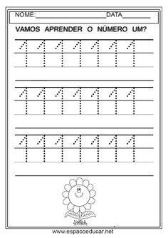 ATIVIDADES PARA EDUCAÇÃO INFANTIL SOBRE NUMERAIS - COORDENAÇÃO MOTORA - ESPAÇO EDUCAR Handwriting Practice, Diy For Kids, Worksheets, Sheet Music, Alphabet, Kindergarten, Homeschool, Activities, Math