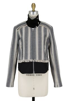 Veronica Beard - Destin Navy Blue Tweed Jacket With Moto Dickey | Shop Online