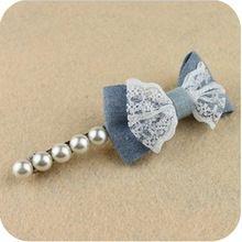 Frete grátis nova moda de jóias por atacado hot rendas denim arco pérola bownot hairpin fabricante de acessório de cabelo clipe atado-side mulheres(China)